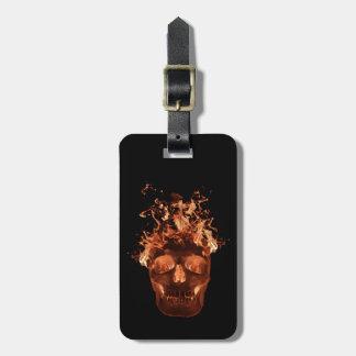 Custom Orange Flame Skull Luggage Tag