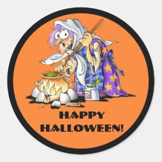 Custom Orange Halloween Stickers - Purple Witch