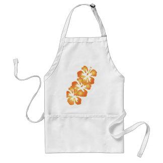 Custom Orange Hibiscus Flowers in Digital Art Adult Apron
