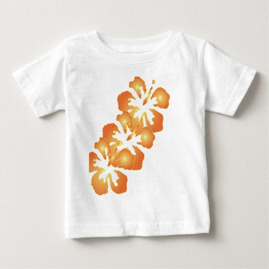 Custom Orange Hibiscus Flowers in Digital Art Baby T-Shirt