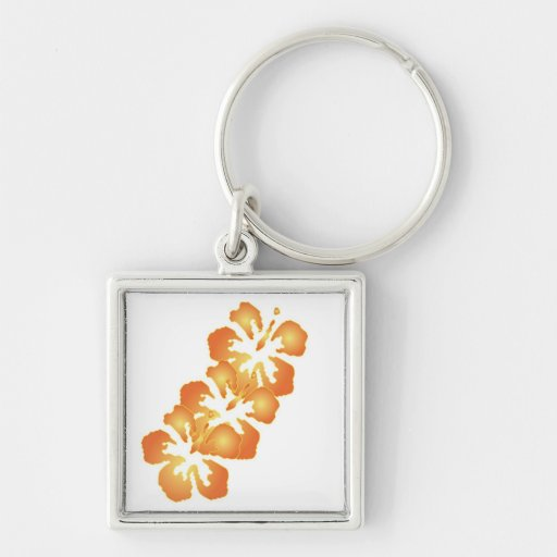 Custom Orange Hibiscus Flowers in Digital Art Silver-Colored Square Keychain