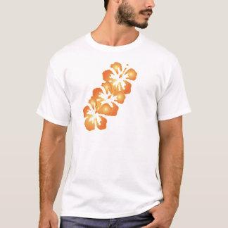 Custom Orange Hibiscus Flowers in Digital Art T-Shirt