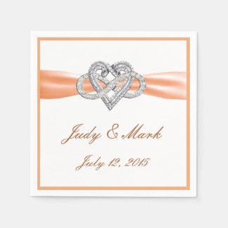 Custom Orange Infinity Heart Paper Napkins
