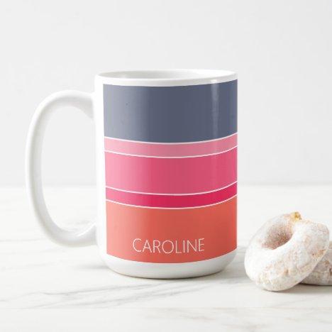 Custom Orange Pink Gray Stripes Art Pattern Coffee Mug