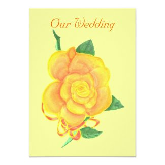 Custom Orange Rose Wedding Invitations