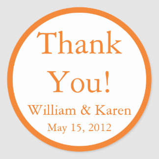 Custom Orange Thank You Stickers and Favor Labels
