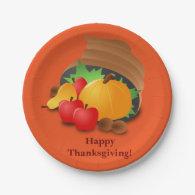 Custom Orange Thanksgiving Paper Plates Cornucopia 7 Inch Paper Plate