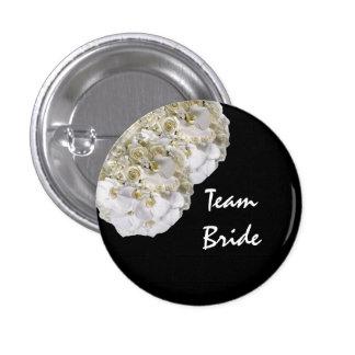 Custom Orchid Flower Wedding Team Bride Buttons