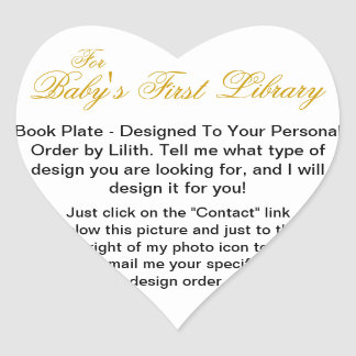 """Custom Order - """"Baby's First Library"""" Book Plate Heart Sticker"""