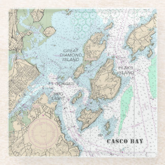 Custom Order: Casco Bay Authentic Nautical Chart Glass Coaster