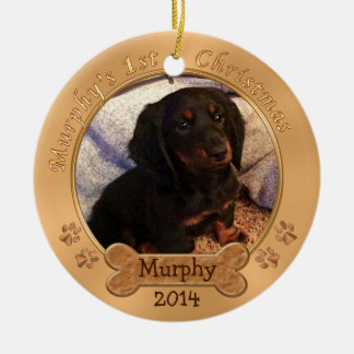 CUSTOM ORDER Puppy's 1st Christmas Photo Ornament