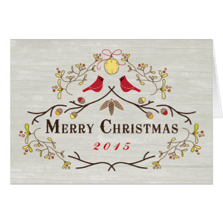 Custom Order Red Cardinals & Branches Christmas 15 Greeting Card