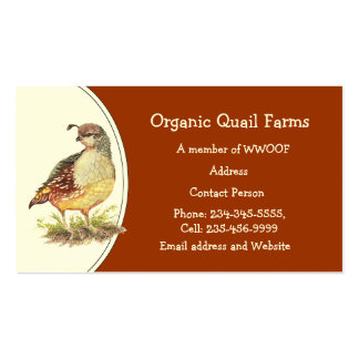 Custom Organic Quail Farm, Animal Business Card