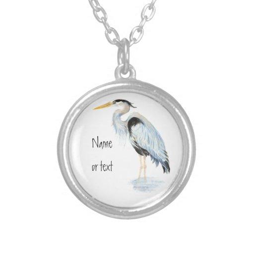Custom Original Watercolor Great Blue Heron Bird Necklaces