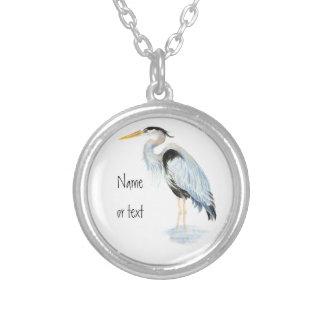 Custom Original Watercolor Great Blue Heron Bird Silver Plated Necklace
