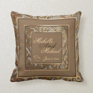 Custom Ornate Gold Wedding Keepsake Throw Pillow