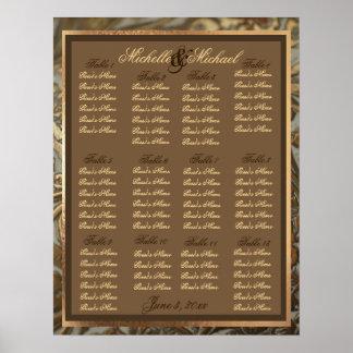 Custom Ornate Gold Wedding Table Seating Chart Poster