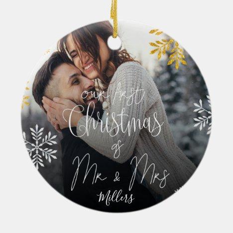 Custom | Our First Christmas as Mr & Mrs Ceramic Ornament