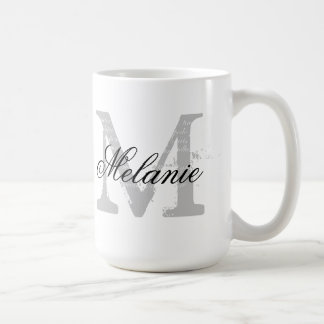 Custom oversized typography monogram coffee mug