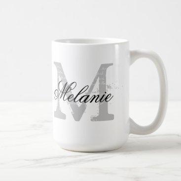 Coffee Themed Custom oversized typography monogram coffee mug
