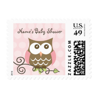 Custom owl baby shower postage stamp