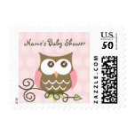 Custom owl baby shower postage stamp