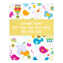 Custom Owl/Floral Design Flyer w/ Yellow Accent