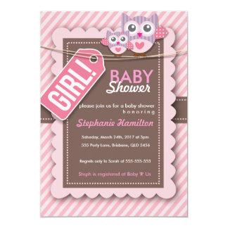 Custom owl stripes baby girl shower string 5x7 paper invitation card