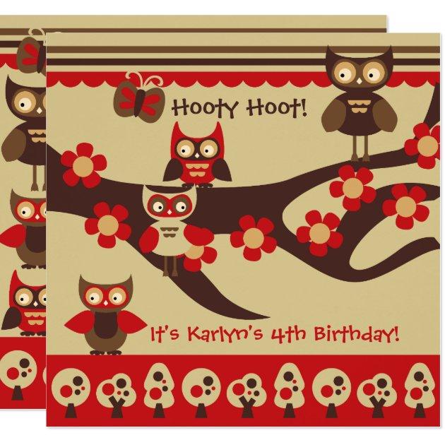 Custom Owls On A Branch Birthday Invitations