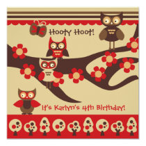 Custom Owls on a Branch Birthday Invitations