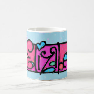 Custom painted mug ELIZABETH soft blue