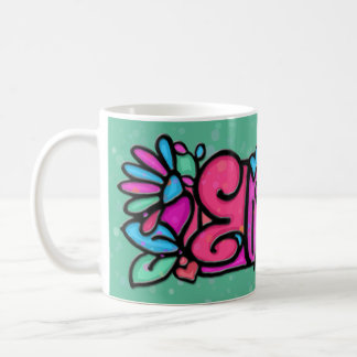Custom painted mug ELIZABETH soft green