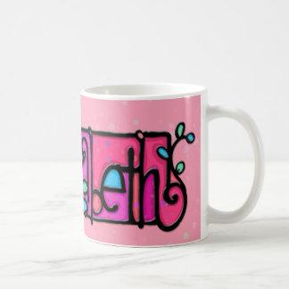 Custom painted mug ELIZABETH soft pink