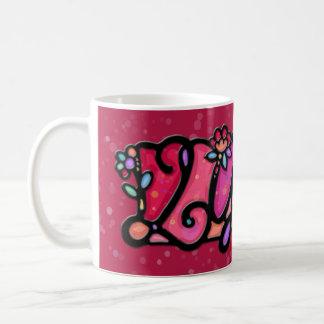 Custom painted mug LYDIA cranberry