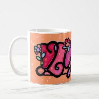 Custom painted mug LYDIA peach