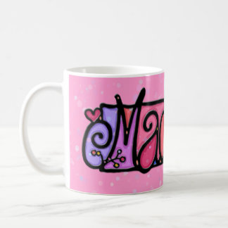 Custom painted mug MADELYN pink + flower