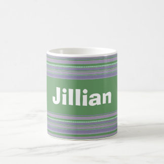 Custom Pale Green and Lavender Striped Mug Cup