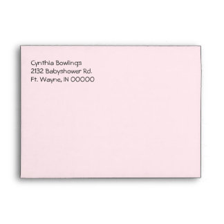 Custom Pale Pink Baby Shower Invitation Envelope