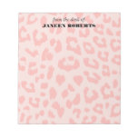 Custom Pale Pink Leopard Print Notepad