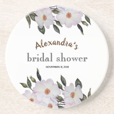 Professional Business Custom Pale Pink Roses Bridal Showers Coaster