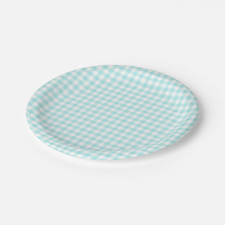Custom Pale Turquoise Gingham Paper Plate
