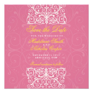 Custom pale violet red white vintage save the date custom announcements