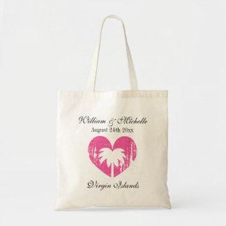 Custom palm destination beach wedding tote bags