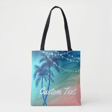 Beach Themed Custom Palm Tree Beach Tote Bag | Teal Blue Peach