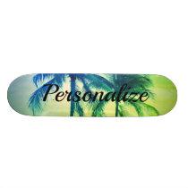 Custom palm tree photo design skateboard deck