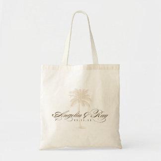 Custom Palm Tree Wedding Logo Canvas Bag