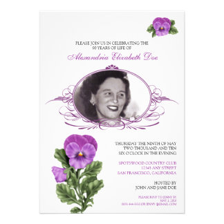 :custom: Pansy Floral Birthday Party Invitation