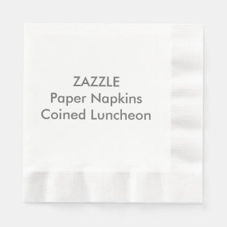 Custom Paper Napkins WHITE COINED LUNCHEON