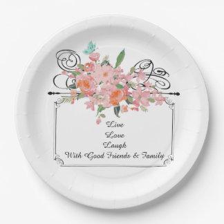 custom Paper plate flower live love laugh family
