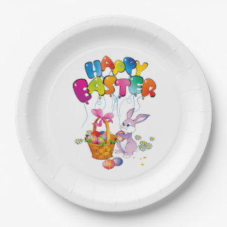 Custom Paper Plates with Easter Bunny and Basket 9 Inch Paper Plate